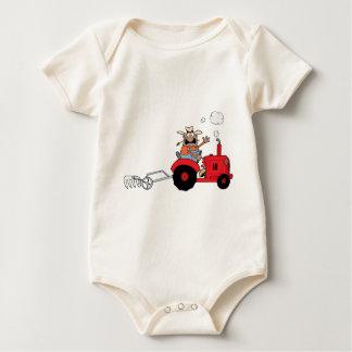 Happy Farmer using a Tractor Baby Bodysuit