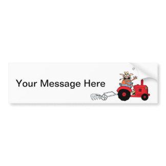 Happy Farmer using a Tractor Bumper Sticker