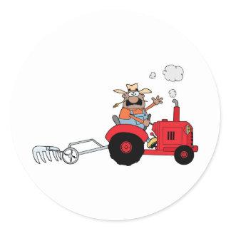 Happy Farmer using a Tractor Classic Round Sticker