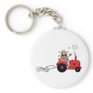 Happy Farmer using a Tractor Keychain