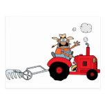Happy Farmer using a Tractor Post Card