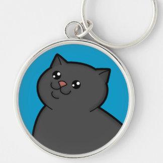 Happy Fat Black Cat Metal Round Keychain