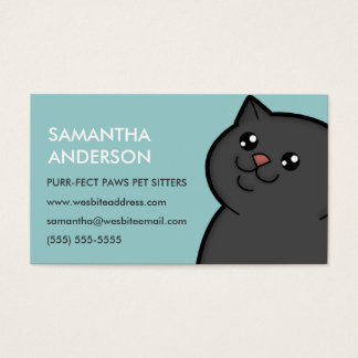 Happy Fat Black Cat Personalized Business Cards