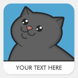 Happy Fat Black Cat Square Stickers