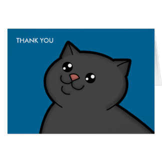 Happy Fat Black Cat Thank You Note Cards