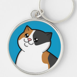 Happy Fat Calico Cat Metal Round Keychain