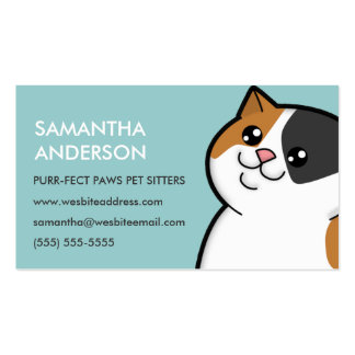 Happy Fat Calico Cat Personalized Business Cards