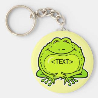 happy fat frog, <TEXT> Basic Round Button Keychain