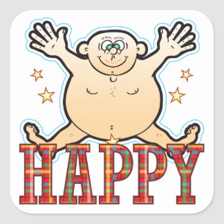 Happy Fat Man Square Sticker