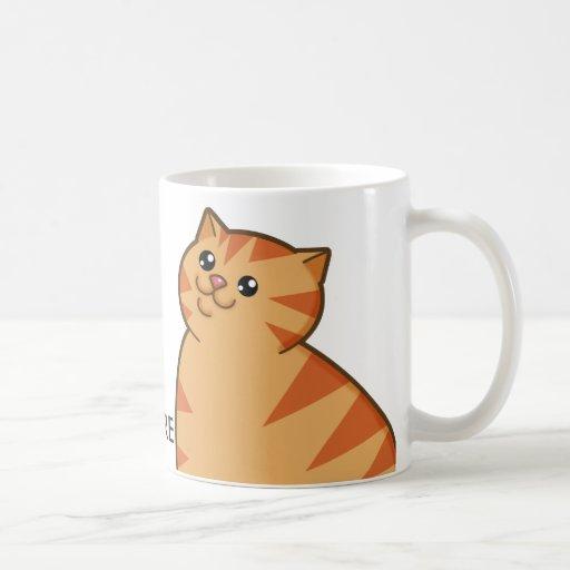 Happy Fat Orange Cat Classic White Coffee Mug