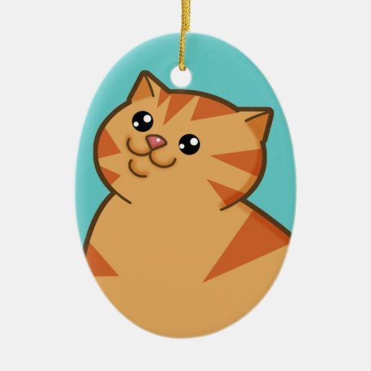 Happy Fat Orange Cat Keepsake Ornament (oval)