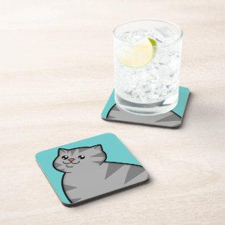 Happy Fat Silver Tabby Cat Coasters (set of 6)