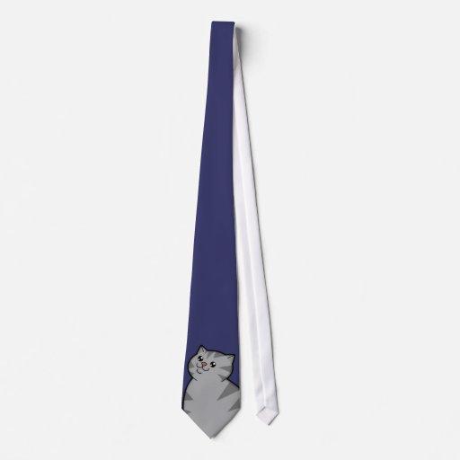 Happy Fat Silver Tabby Cat Men's Tie