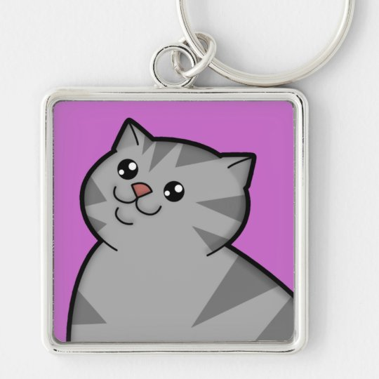 Happy Fat Silver Tabby Cat Metal Square Keychain