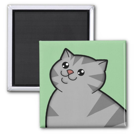 Happy Fat Silver Tabby Cat Square Magnet