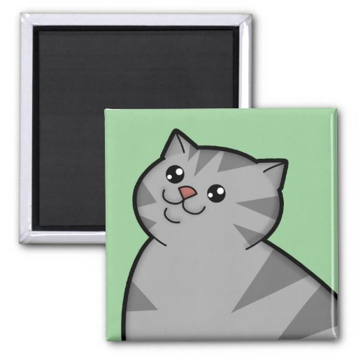 Happy Fat Silver Tabby Cat Square Magnet Magnets