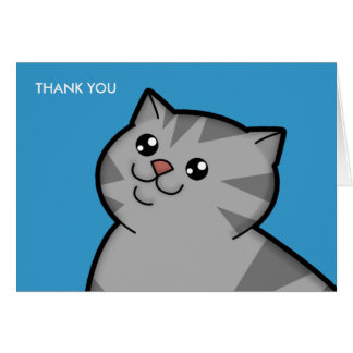 Happy Fat Silver Tabby Cat Thank You Note Cards