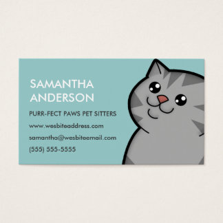 Happy Fat Silver Tabby Personalized Business Cards