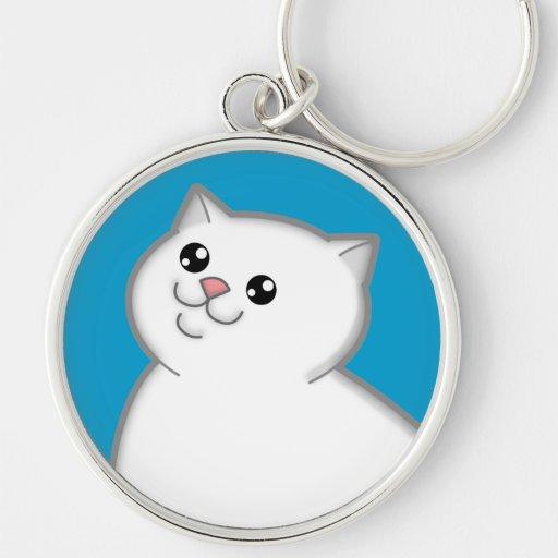 Happy Fat White Cat Metal Round Keychain