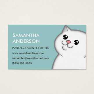 Happy Fat White Cat Personalized Business Cards