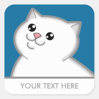 Happy Fat White Cat Square Stickers