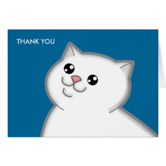 Happy Fat White Cat Thank You Note Cards