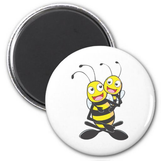 Happy Father and Daughter Bee 2 Inch Round Magnet