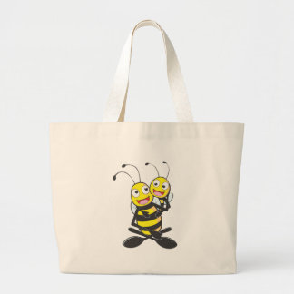 Happy Father and Daughter Bee Having Fun Large Tote Bag