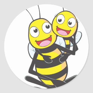 Happy Father and Daughter Bee Having Fun Sticker
