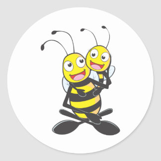 Happy Father and Daughter Bee Having Fun Round Sticker