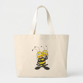 Happy Father and Daughter Bee Large Tote Bag