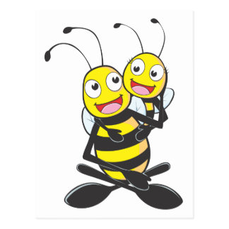 Happy Father and Daughter Bee Postcard