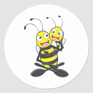Happy Father and Daughter Bee Round Stickers