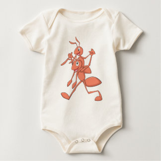 Happy Father and Son Ants Strolling Baby Bodysuit