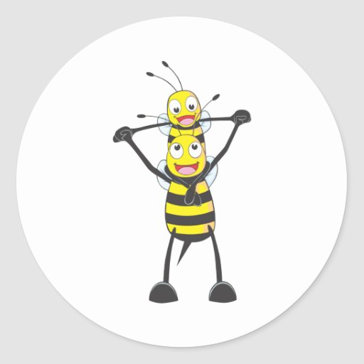 Happy Father and Son Bee Classic Round Sticker