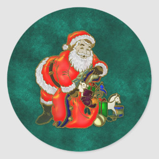 Happy Father Christmas Classic Round Sticker