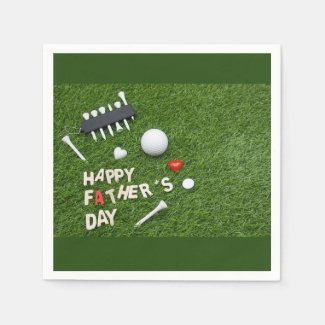 Happy Father Day to Golfer with golf ball and tee Napkins