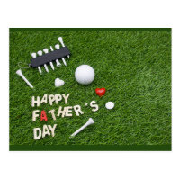 Happy Father Day to Golfer with golf ball and tee Postcard