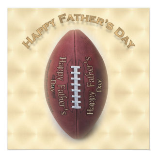 Happy Father s Day Football On Gold Background Custom Invitations