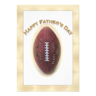 Happy Father s Day Football On Gold Background Personalized Invitation