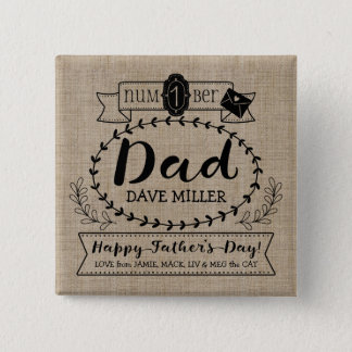 Happy Father's Day Number 1 One Dad Monogram Logo Button