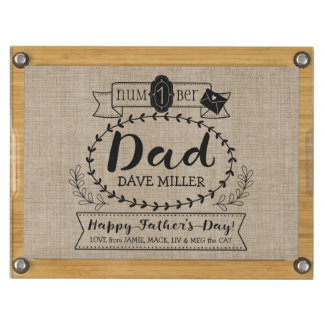 Happy Father's Day Number 1 One Dad Monogram Logo Cheese Board