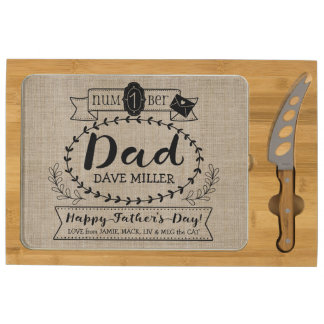 Happy Father's Day Number 1 One Dad Monogram Logo Cheese Platter