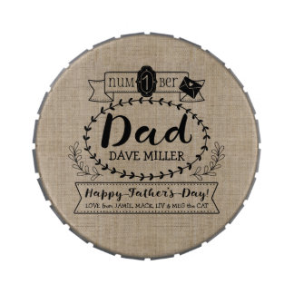 Happy Father's Day Number 1 One Dad Monogram Logo Jelly Belly Tin