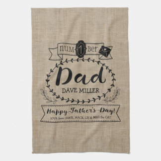 Happy Father's Day Number 1 One Dad Monogram Logo Kitchen Towel