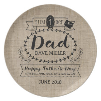Happy Father's Day Number 1 One Dad Monogram Logo Melamine Plate