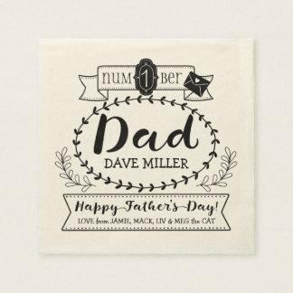 Happy Father's Day Number 1 One Dad Monogram Logo Napkin