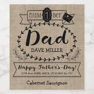 Happy Father's Day Number 1 One Dad Monogram Logo Wine Label