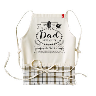 Happy Father's Day Number 1 One Dad Monogram Logo Zazzle HEART Apron