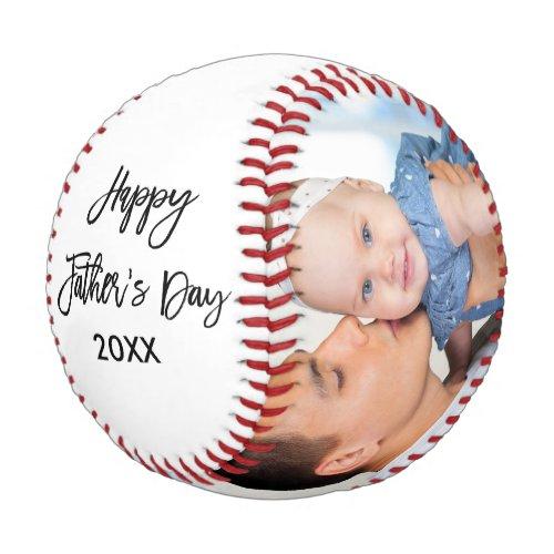 Happy Fathers Day 2 Photo Brush Script Baseball
